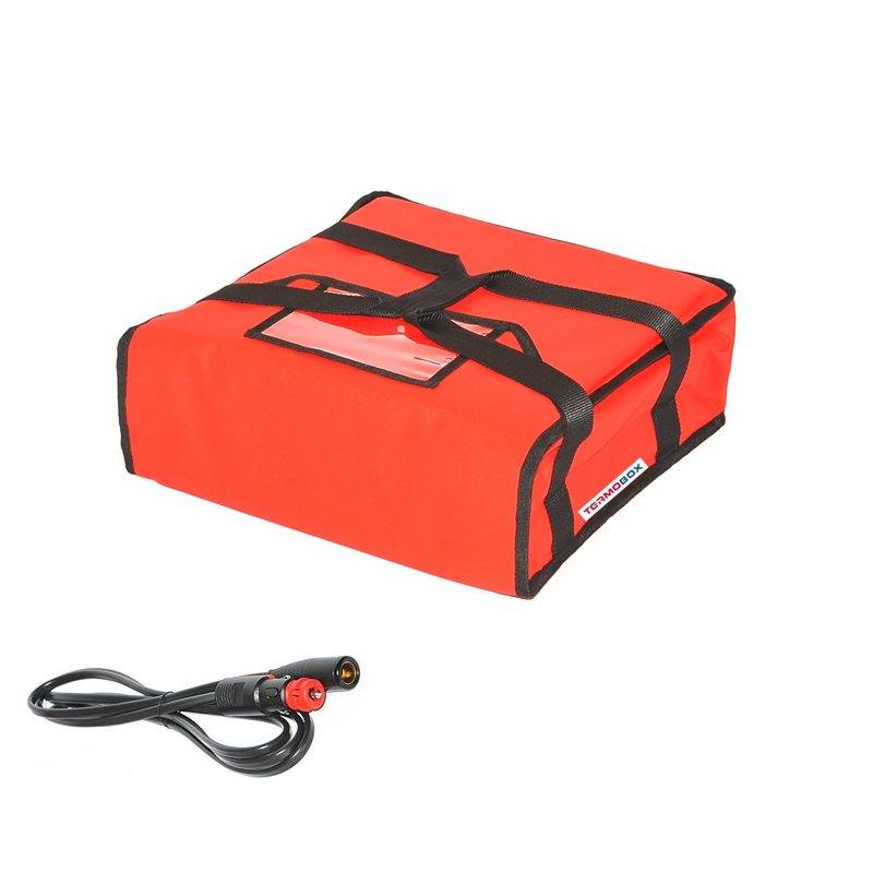 Pizza taška 35x35x12 cm vyhřívaná červená
