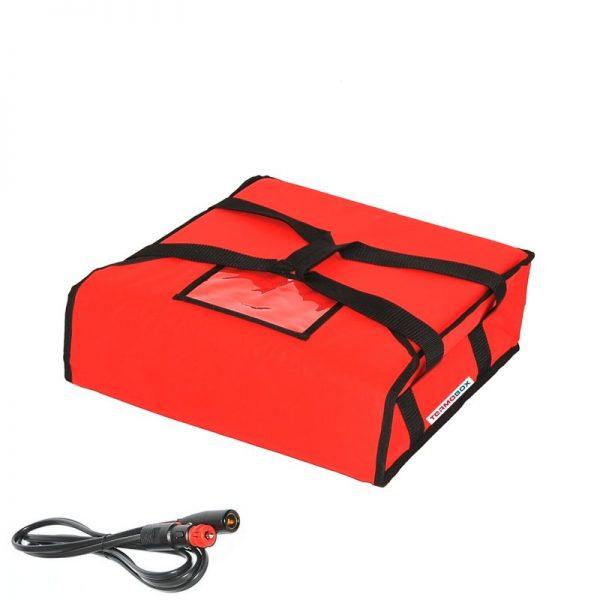 Pizza taška 40x40x12 cm vyhřívaná červená